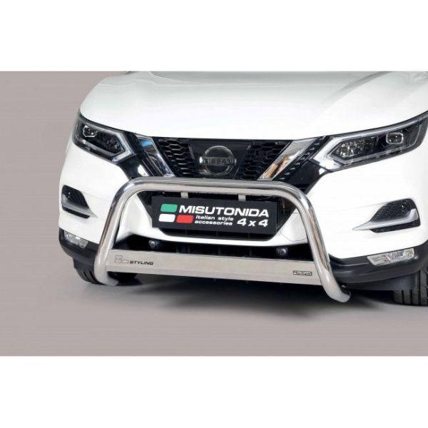 Misutonida Bull Bar Ø63mm inox srebrni za Nissan Qashqai 2014 - 2016 s EU certifikatom