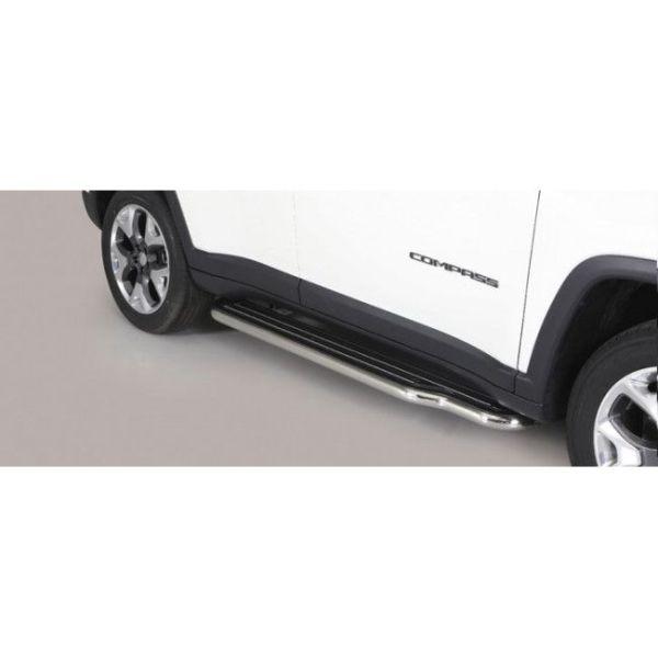 Misutonida bočne stepenice inox srebrne za Jeep Compass 2017-2020 s TÜV certifikatom