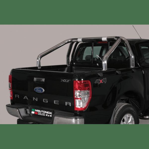 Misutonida Roll Bar Ø76mm inox srebrni za pickup Ford Ranger 2012-2015 i 2016-2018 double cab s TÜV certifikatom