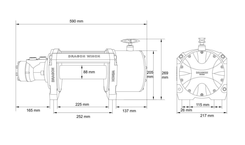 Vitlo Dragon Hidra DWHI 20000 HD, hidraulično, 9.072 kg, sa čeličnom sajlom, vodilicom, bez kontrolnog seta