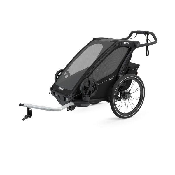 Thule Chariot Sport crna sportska dječja kolica i prikolica za bicikl za jedno dijete (4u1)