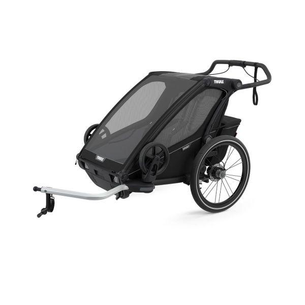 Thule Chariot Sport 2 crna sportska dječja kolica i prikolica za bicikl za dvoje djece (4u1)