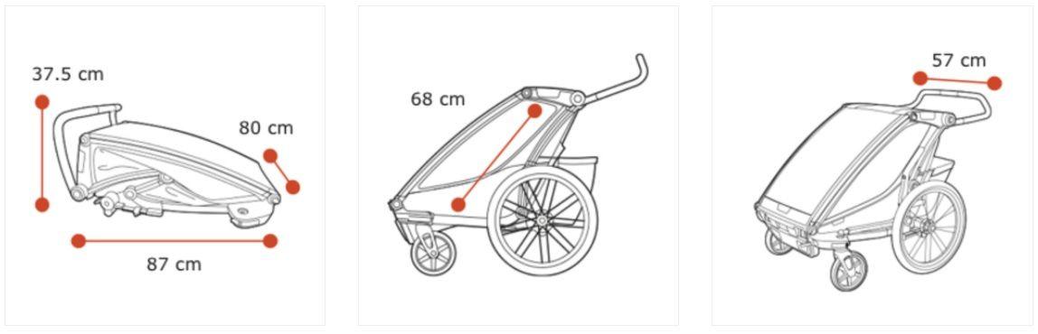 Thule Chariot Sport 2 žuto/crna sportska dječja kolica i prikolica za bicikl za dvoje djece (4u1)