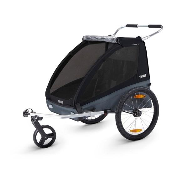 Thule Coaster XT crna dječja kolica i prikolica za bicikl za dvoje djece