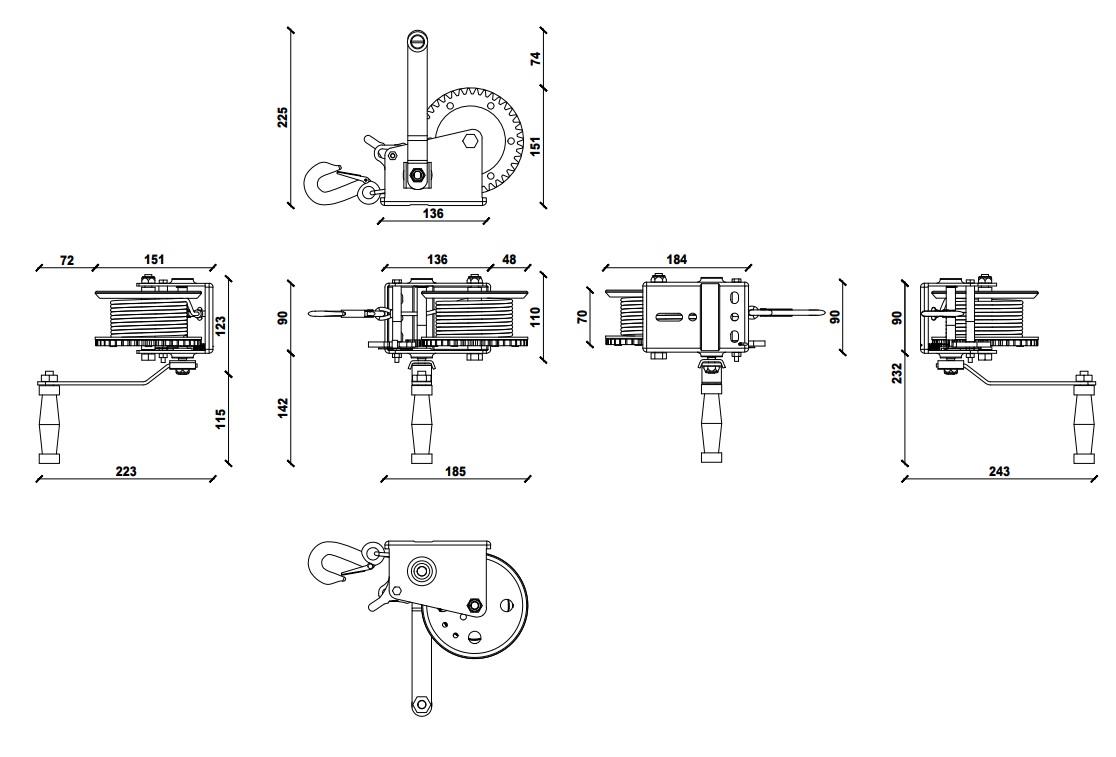 Dragon ručno vitlo DWK-16, 720 kg sa čeličnom sajlom 10 m