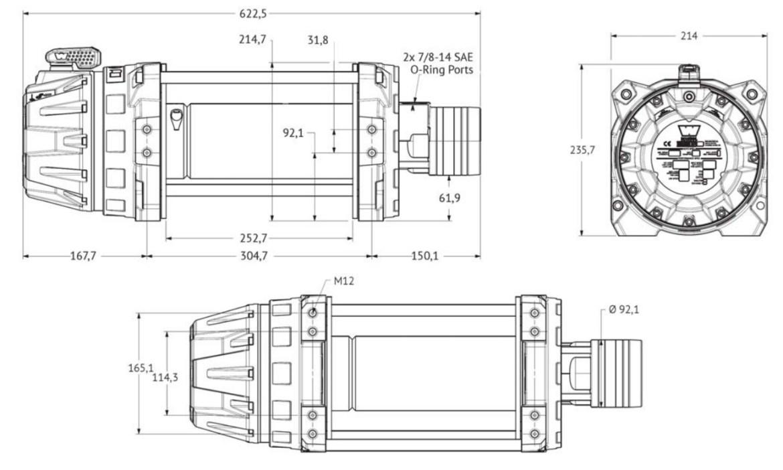 Vitlo Warn Series 12, druga generacija, 4.0 motor, hidraulično, 5.443 kg, bez sajle i vodilice