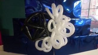 One of Jo Galloway's balloon molecule models at ASMbly 2014.