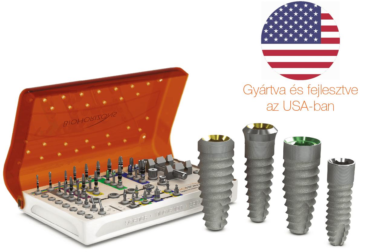 BioHorizons tapered implantátumok, és sebészi készlet, made in the USA