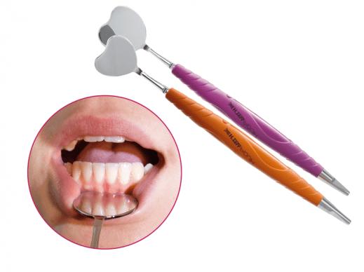 37.448.10 cikkszámú Retractor and Mouth Mirror narancssárga PEEK univerzális Bionik nyéllel, valamint 37.448.20 cikkszámú Retractor and Mouth Mirror lila PEEK univerzális Bionika nyéllel