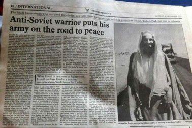 Osama Bin Laden tratado como novo herói na guera contra a URSS.