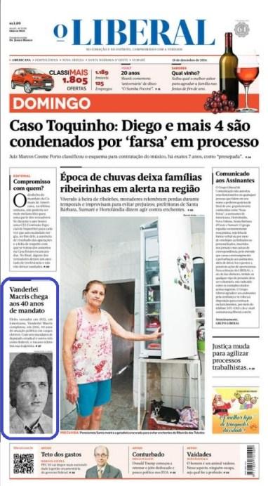 """Capa da edição de domingo, com destaque aos 40 anos de """"trabalho"""" do deputado."""
