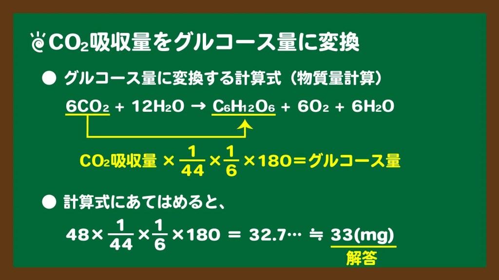 CO2吸収量をグルコース量に変換する計算方法のスライド