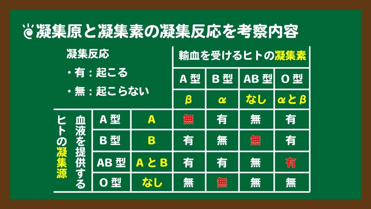 スライド9:輸血の凝集反応の表
