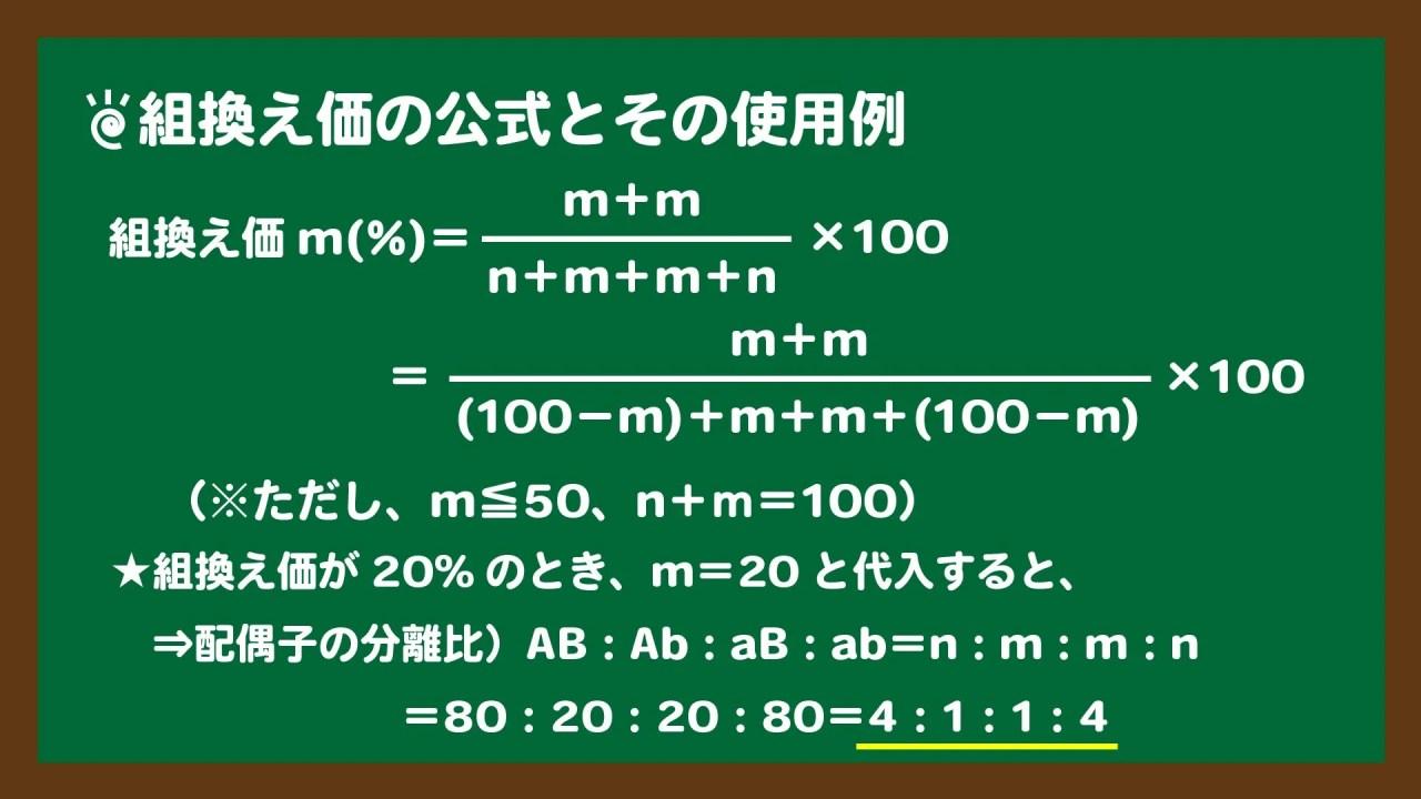 スライド5:組換え価の公式とその使用例|AとB(aとb)が連鎖