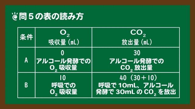 スライド5:問5の呼吸と発酵の表の読み方