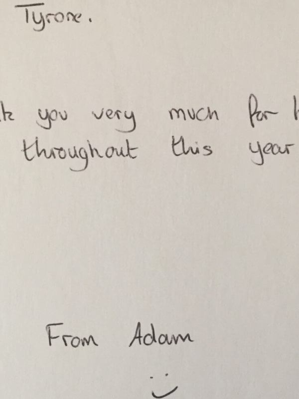 A-level biology student thank you card