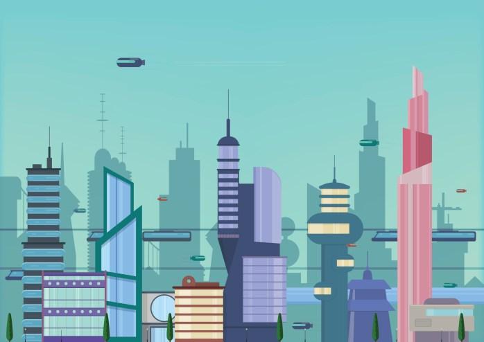 future city flat illustration.