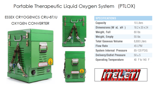 PTLOX PORTABLE LIQUID OXYGEN SYSTEM by ESSEX