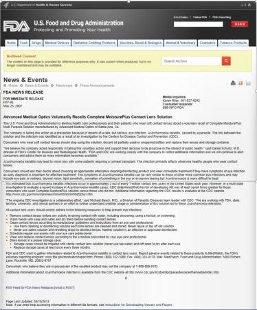 FDA ContactLensRecall