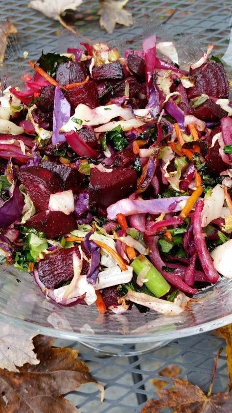 Roasted Beet, Cabbage and Kale; eat the red colors