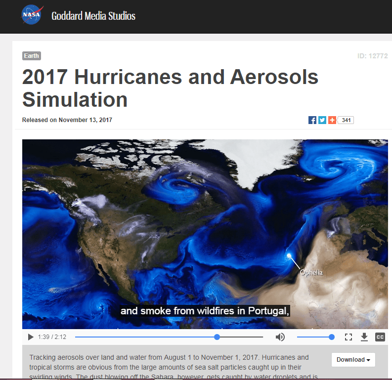 NASA Aerosol Video_Ophelia carried Saharian dust and smoke from wildfires fr Portugal to UK and Ireland