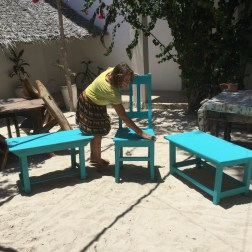 Painting tables in exchange for room and board for 3 weeks! All the workers would stop and remarked how beautiful the color was. A reflection of the Indian Ocean.