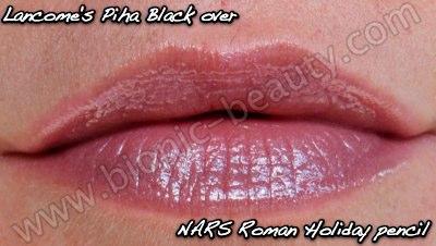 NARS Roman Holiday velvet matte lip pencil with Lancome's Piha Black gloss