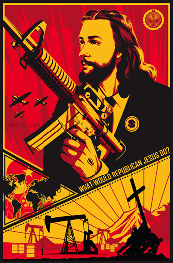 As this picture shows, Jesus might like an M-16 or AR-15.