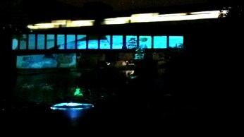 2013 – V4V Jam at Hackney WickED Festival. Projecting my video 'Electroic Journey To Avebury' on to a bridge over the canal (see the train above)
