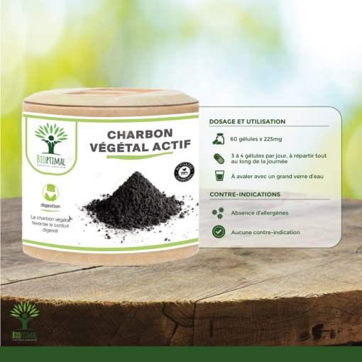 Utilisation charbon végétal actif