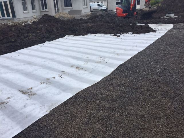 Membrane covering and backfilling with soil for lawn area