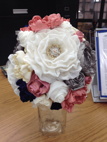 fabric bouquet - almost done! :  wedding bouquet diy fabric flowers Flower2