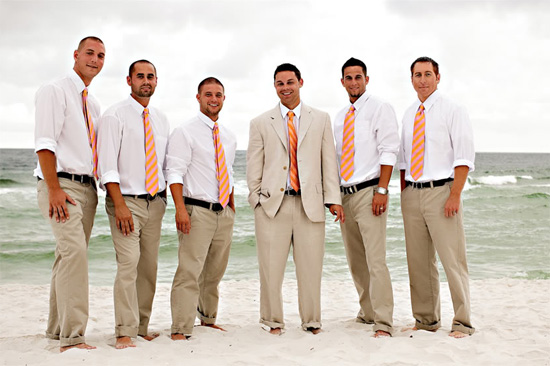 Boutineer or not?! (Beach Wedding!) :  wedding Rw Lr Groomsmen