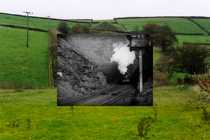 The site of Queensbury station in 2004, with inset from Queensbury Tunnel (Riley Brothers, 1898)