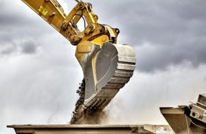 Construction industry excavator bucket closeup made in the USA