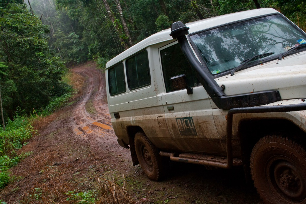 Fig. 5. James Cook University vehicle on wet and muddy upland rainforest road.