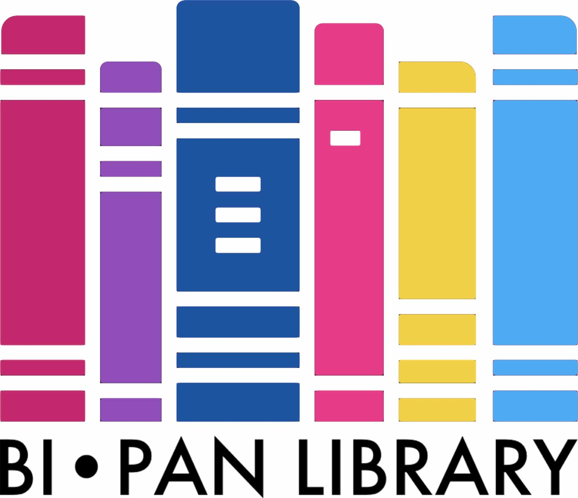 Bi Pan Library logo, a bookshelf of bisexual and pansexual flag colors.