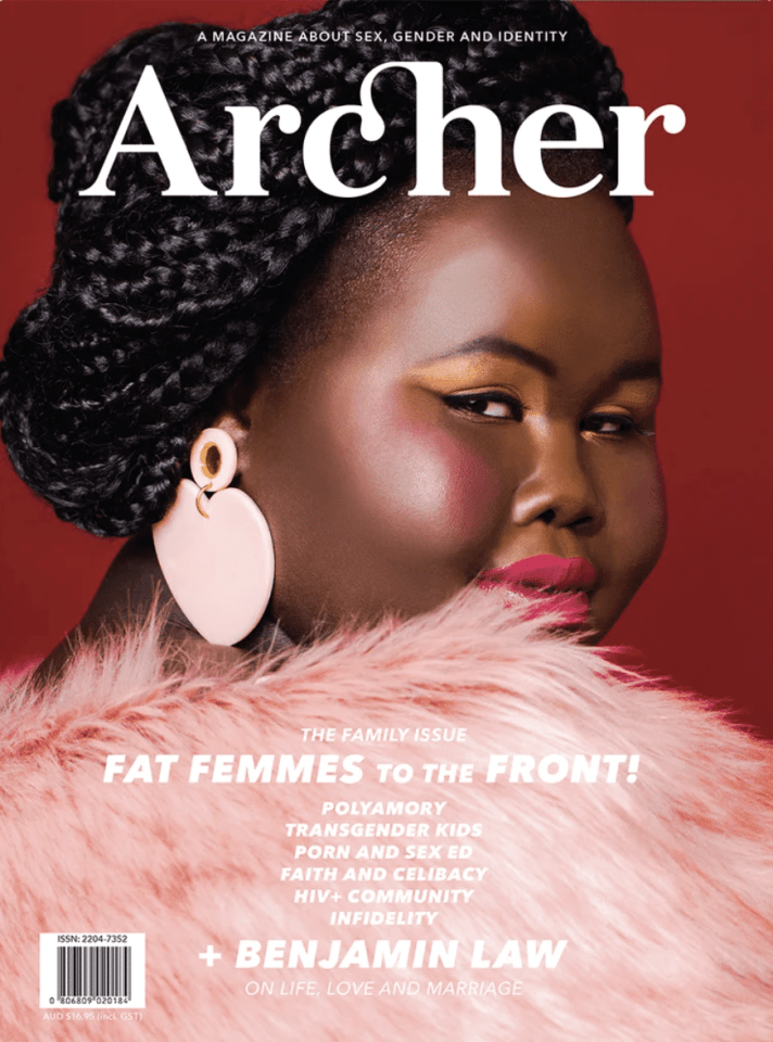 Archer magazine cover, a fat black woman in fabulous pink fur and large pink earrings looks over her shoulder