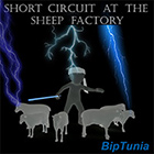 short circuit at the sheep factory, album cover - image is drawing of man herding sheep with stick, man getting struck by lighting - click button to play album