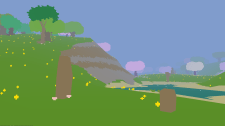 A gradual rocky slope leads down to a pond separating the player from a cherry grove. (Image credit to Birb Friends, retrieved from Proteus using the Postcards system)