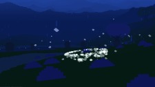 Dust swirls towards a new dawn and a new season in the midst of a rock formation. (Image credit to Birb Friends, retrieved from Proteus using the Postcards system)