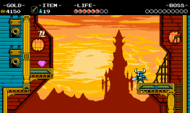 The Tower of Fate looms against the setting sun in Propeller Knight's fortress. (Image credit to Yacht Club Games, retrieved from the Shovel Knight press kit)