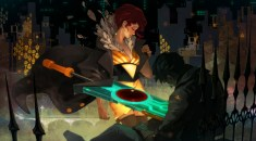 "Red laments over the ""deceased"" body of her lover. (Image credit to Supergiant Games, retrieved from their official Transistor page)"