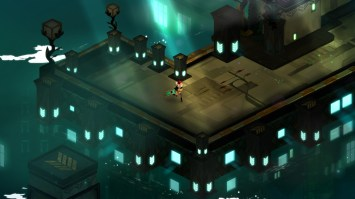 Red stalks through the sun shafts drifting to the river. (Image credit to Supergiant Games, retrieved from their official Transistor page)