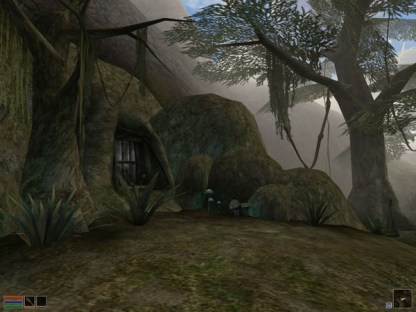 The entrance to a cave dwelling lies among the trees and mushrooms of the Bitter Coast. (Image credit to Bethesda Softworks, retrieved from GOG.com's official Morrowind page)