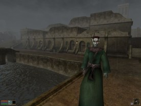 A commoner stands on one of Balmora's canal bridges. (Image credit to Bethesda Softworks, retrieved from GOG.com's official Morrowind page)