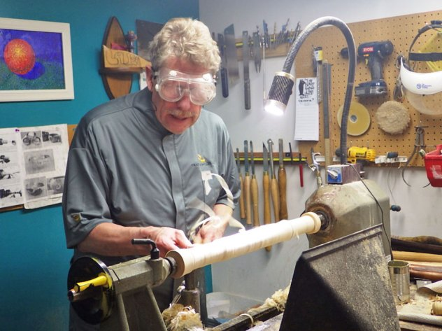 John Unruh turns a Pin on the Lathe