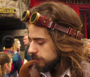 Young man in steampunk goggles.