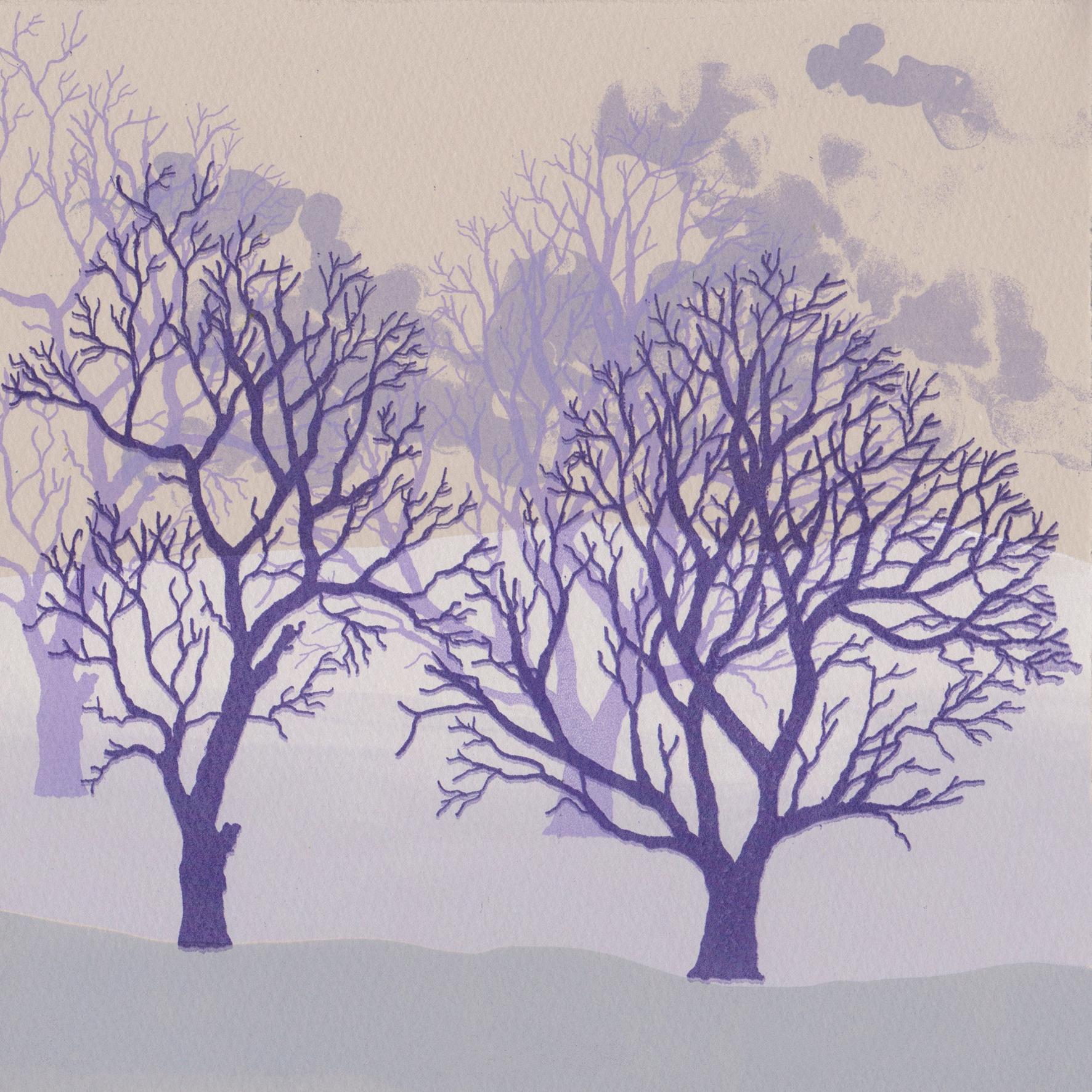 Rona MacLean. Winter Trees Purple. Screen Print