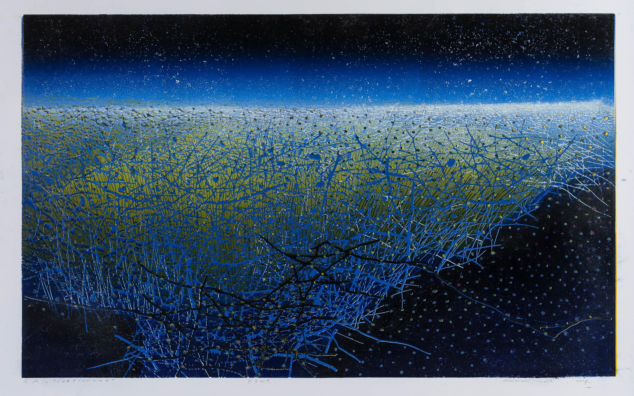 Nocturne -D. Ivanauskaite - colour linocut - Birch Tree Gallery